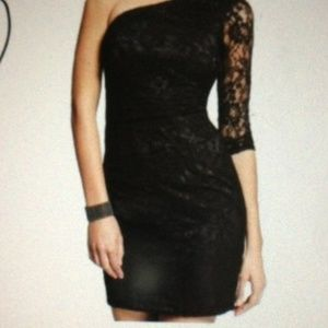 One Shoulder Lace Casual Party Dress: Black Lace 0